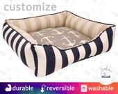 Nantucket look Dog Bed or Cat Bed  | Anchors, Stripes, Linen, Navy, White, Sailor, Nautical | Washable and High Quality!