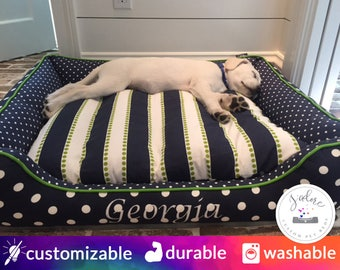 Navy Blue & Green Large Dog Bed | Polka Dot, Stripe, Mini Dot, Chartreuse | Design Your Own Dog Bed