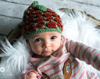 Crochet Baby Hat, Strawberry Hat, Photo Prop, 3 month size, Spring Knit Hat, Baby Boy Hat, Baby Girl Beanie, Baby Shower Gift