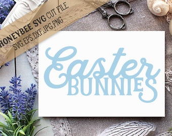 Easter Bunnies cut file svg eps dxf jpg png for Silhouette and Cricut style cutting machines