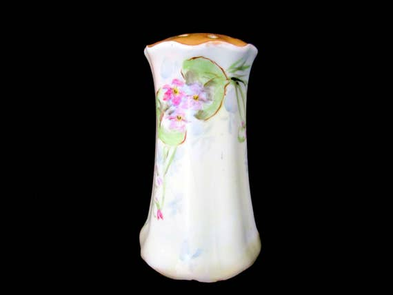 Antique Hatpin Holder, RS Germany, Hat Pin Holder Vase, Delicate Flowers, Gold Gilt Top, Scalloped Edges
