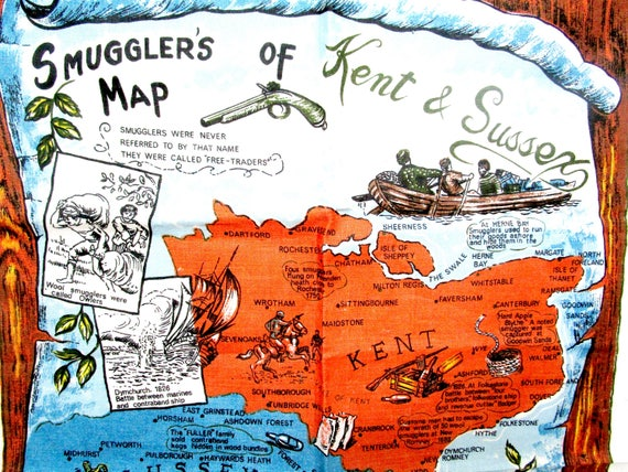 Vintage Linen Tea Towel, Smugglers Map, Kent & Sussex, Pirates Map, Irish Linen Tea Towel, Vivid Colors, Immaculate, Never Used
