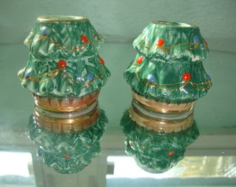 Christmas Candle Holders Ceramic from Italy