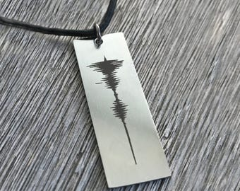 Personalized Sound Wave Necklace Mens Necklace Leather Necklace Voice Recording Memorial Gift Musician Heartbeat Necklace Sound Wave Jewelry