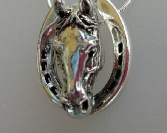 Horse and Horseshoes pendant  STERLING SILVER pendant and chain Equestrian jewelry