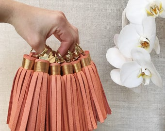 Large Coral Pink Leather Tassel Keychain