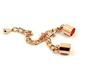 5 Pcs. (Set ) Rose Gold Leather Cord End Cap with Loop 7x10.5 mm ( İnside Diameter 6 mm ) with Extender Chain end Lobster Claw