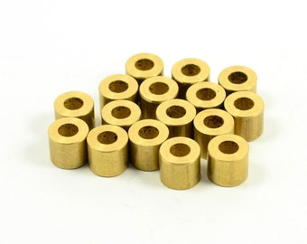 15 Pcs. Solid Brass 5x6 mm Tube Findings , Hole Size :3 mm