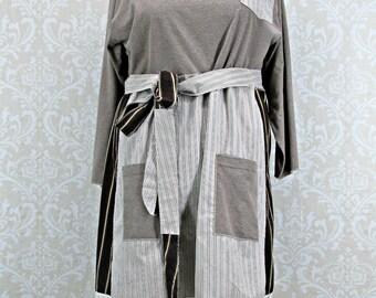 Plus Size 3X Tunic Dress,Upcycled Top,Brown Cream Chocolate,Boho Clothing,Plus Size Clothing,Eco Fashion,Plus Size Dress