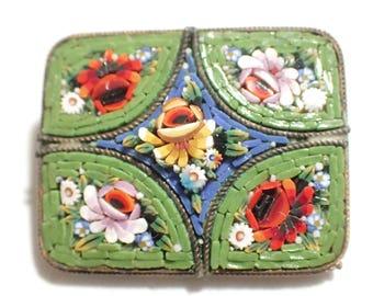 Lovely Rectangular Raised Design Italian Mosaic Brooch Signed Made In Italy