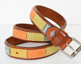 Leather belt brown leather multicolor valleo junior,Size 70/28, width 2.2 cm-1 inches