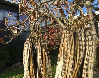 Dirty Snow Leopard Long Grizzly Feather Earrings