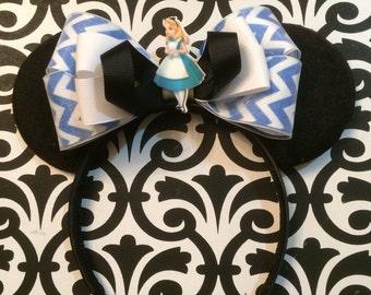 Alice In Wonderland Alice Inspired Blue Chevron Minnie Mouse Headband Ears
