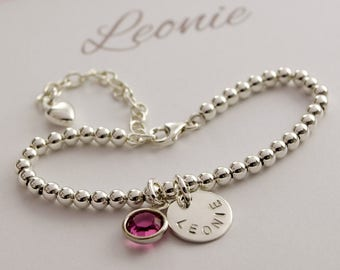925 Silver pearl bracelet with name and birthstone