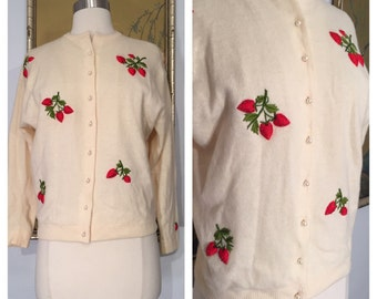 1950s 3D Strawberry Embroidered Cardigan Novelty Sweater -- Embroidered Strawberries with Glass Bead Seeds!