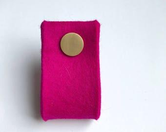 door handle in hot pink