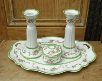 Vintage Dressing Table Set, Bone China, Porcelain Vanity Set, Czechoslovakian, Boudoir, Victorian, Edwardian, Steampunk