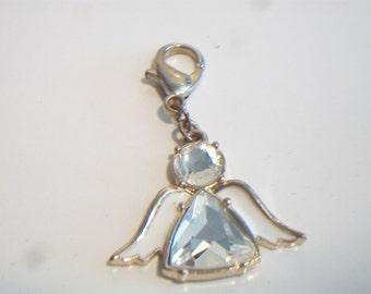 White Enamel Crystal Angel Charm Jewelry Making Supplies Gold Tone