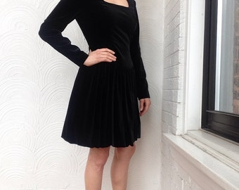 1980s Laura Ashley Velvet Bubble Skirt Dress