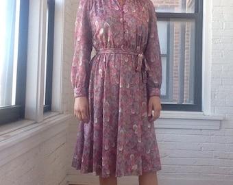 1970s Feather Print Dress with Mandarin Collar