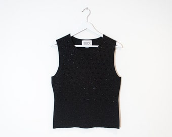 on sale - black & gold sparkly tank top / beaded sleeveless knit top / size L