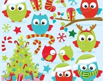 80% OFF SALE Christmas owls clipart commercial use, christmas birds, owl vector graphics, digital clip art, digital imag