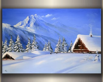 SALE Original Oil Winter Mountain House Textured Palette Knife Landscape Painting Oil on Canvas Modern Art Seasons