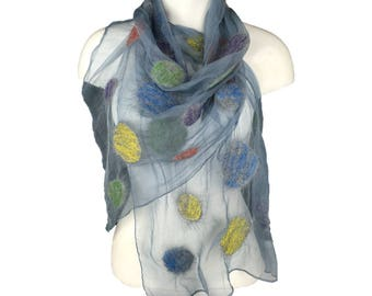 Grey silk chiffon scarf nuno felted with multicoloured merino wool and silk circles