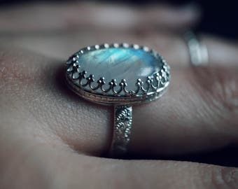 Enchanted Goddess Moonstone Ring- Sterling Silver Ring - Moonstone Rings - Moonstone - Statement Ring - MetalSmith Jewelry