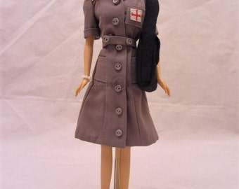 "Hankie Couture 11.5"" Blonde Doll Dressed in 1940's replica Nursing Uniform"
