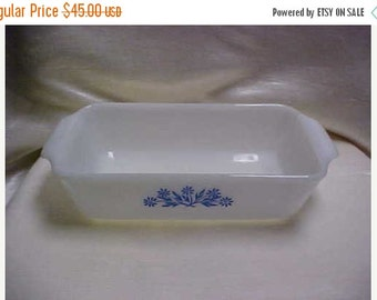 SALE Vintage  1960's Fire King Oven Ware Anchor Hocking White Glass Baking Dish Blue Flowers