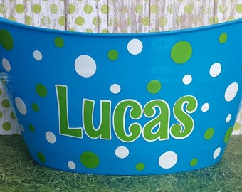 Personalized  Basket with polka dots.