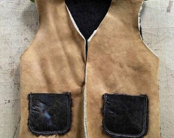 Dracula's Natural Fur Waistcoat, Sheep Fur Vest Coat, Fur Coat, Luxury Handmade fur coat