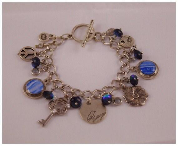 Upcycled Vintage Danish Tea Tin Silver-toned Charm Bracelet