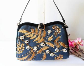 Black Beaded Evening Bag, Black Evening Bag, Vintage Embroidery Bag, Glamorous Black Bag, Black Handbag, Sparkly Black Bag, EB-0094
