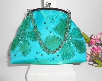 Teal Green Evening Bag, Inge Christopher Purse, Beaded Evening Bag,Shimmery Evening Purse,Beads and Sequins,Vivid Color,Vintage Bag, EB-0758