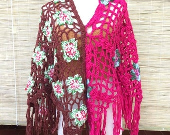 3 in 1 Handmade Crochet Poncho/Flora Poncho/Boho Knit Poncho/Hippie Crochet Poncho
