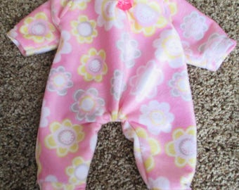 "Handmade  Doll Footed Sleeper 12-13""  U-Pick Fleece or Flannel baby Doll PJ"