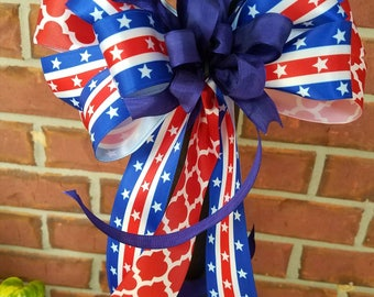 Red, white & blue bow multi purpose bow for lantern/gift/mailbox/wreath/party/crafts/decorating