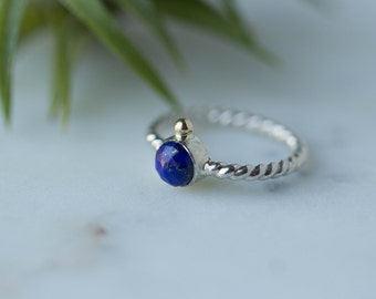 Sterling Silver recycled gold Lapis Ring / Blue ring / Silver and gold ring / women ring/ Lapis Lazuli