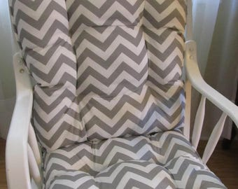 glider or rocking chair cushion set in grey and white chevron or your fabric choice baby nursery - Rocking Chair Cushion Sets