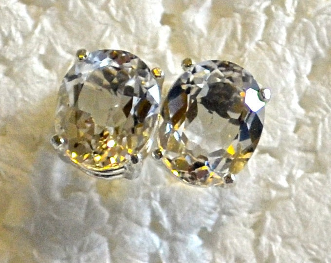 White Topaz Studs, 10x8mm Oval, Natural, Set in Sterling Silver E1005