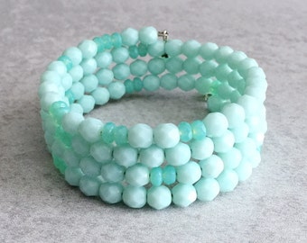 Mint Green Beaded Bracelet - Stackable, Pastel, Teal, Sea Foam, Opaque, Czech Glass, Memory Wire, Spring, Arm Candy, Bridesmaid Jewelry
