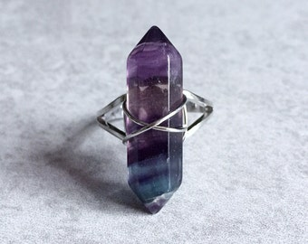 Fluorite Crystal Ring - Terminated Point Stone, 30mm, Wire Wrapped, Healing Crystals, Chakra Stones, Boho, Hippie, Bohemian, Reiki, Meditate