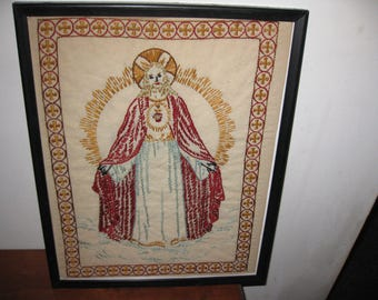 """ANTIQUE JESUS EMBROIDERY In Wood Frame Painted Black 14 3/4"""" x 11 3/4"""" Double Fabric Originally Meant To Be Pillow Cover ??"""