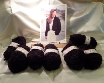 Seven 100 Gram Skeins, Sirdar Persian Black Looped Yarn with Instructions for Jacket