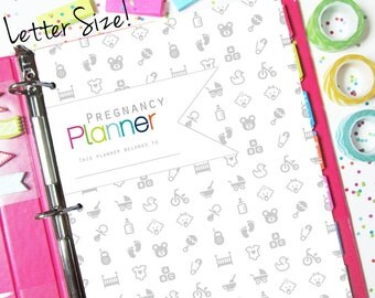 Pregnancy Planner Journal, Printable, Letter Size - INSTANT DOWNLOAD - Logs, Baby Planner, Birth Plan, with Cover
