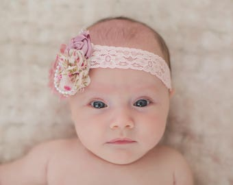 Mauve pink  vintage Shabby chic  headband , newborn headband , Baby headband, Vintage headband
