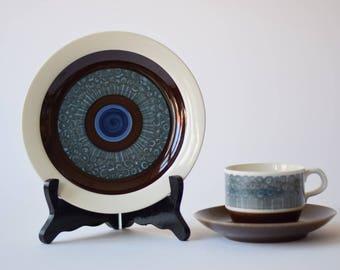 Rörstrand - AMANDA - coffee trio - cup / saucer / plate - 1970s - Christina Campbell - Scandinavian midcentury tableware