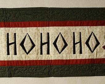 "HANDMADE ""HoHoHo"" quilted table runner 12""x32"""